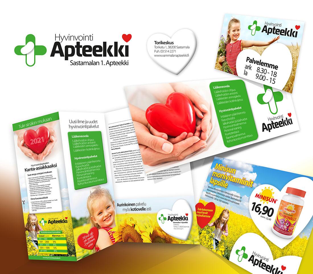 sastamalan-1-ensimmainen-apteekki-vammala-visuaalinen-ilme-yritysgrafiikka-hyvinvointi-kauneuspalvelut-logo-kuvasuunnittelu-painotuotteet-mainostulosteet-jips-suurkuva